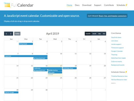 Full Calendar – A JavaScript event calendar. Customisable and open source.